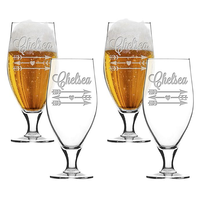 Alternate image 1 for Carved Solutions Arrows Cervoise Glasses (Set of 4)