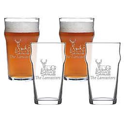 Carved Solutions Deer Pub Glasses (Set of 4)