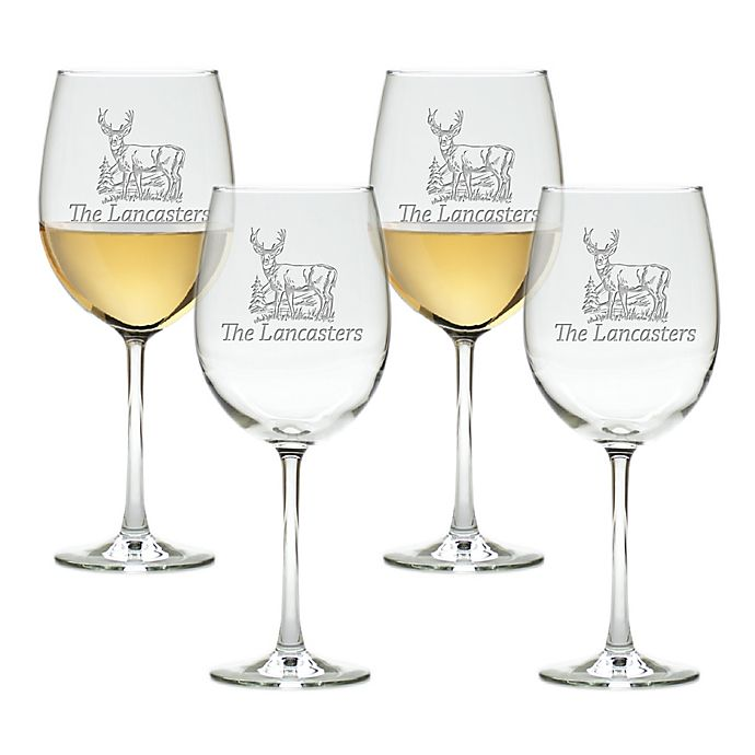 Carved Solutions Deer Tulip Wine Glasses (Set of 4)
