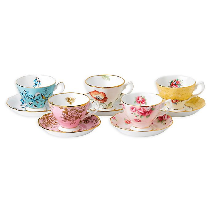Alternate image 1 for Royal Albert 100 Years 1950-1990 Teacups and Saucers (Set of 5)