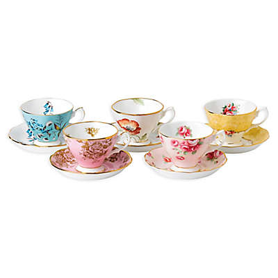 Royal Albert 100 Years 1950-1990 Teacups and Saucers (Set of 5)