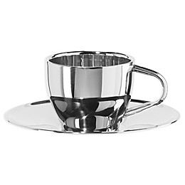 Oggi™ Double Wall Espresso Cup and Saucer in Stainless Steel