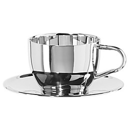 Oggi™ Double Wall Cappuccino Cup and Saucer in Stainless Steel