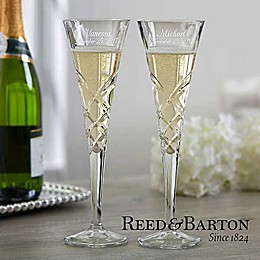 Reed & Barton Engraved Crystal Champagne Flute Set
