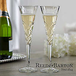 Reed & Barton Engraved Crystal Champagne Flutes (Set of 2)