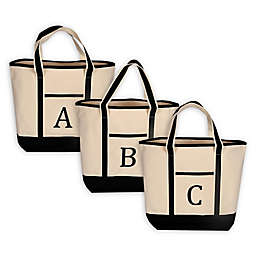 Monogram Embroidered Block Letter Large Canvas Tote Bag