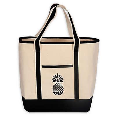 Monogram Pineapple Large Canvas Tote Bag