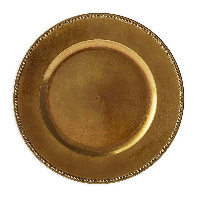 Alternate image 1 for Beaded Charger Plates in Bronze (Set of 6)