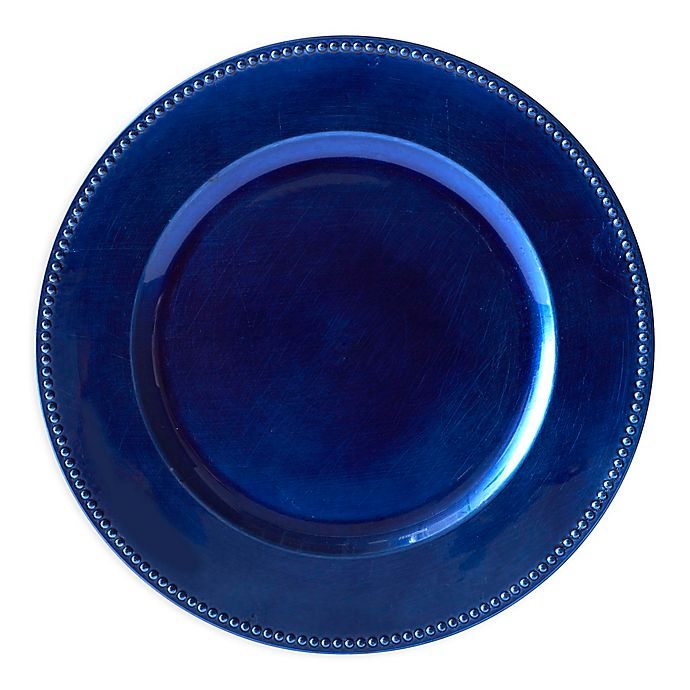 Alternate image 1 for Beaded Charger Plates in Blue (Set of 6)