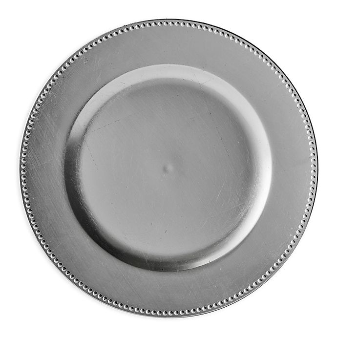 Alternate image 1 for Beaded Charger Plates in Silver (Set of 6)