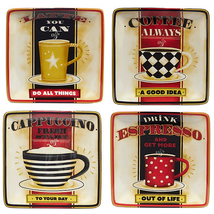 Alternate image 1 for Certified International Coffee Always by LoriLynn Simms Canape Plates (Set of 4)
