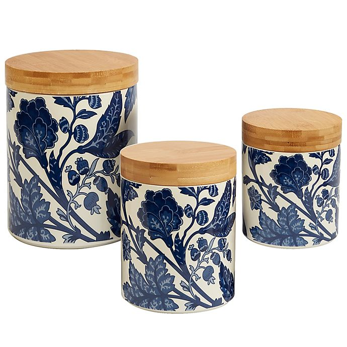Alternate image 1 for Certified International Blue Indigo by Bronson Pinchot 3-Piece Canister Set