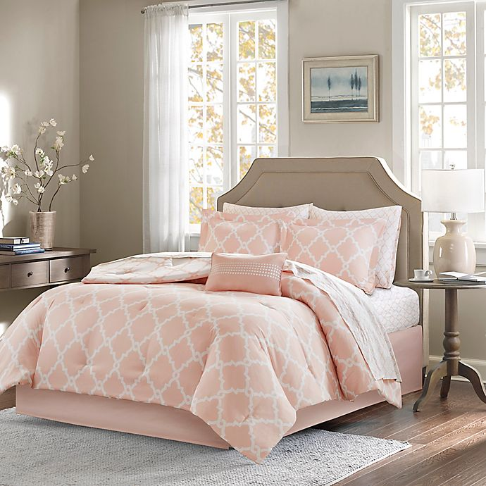 Alternate image 1 for Madison Park Essentials Merritt 7-Piece Reversible Twin Comforter Set in Blush