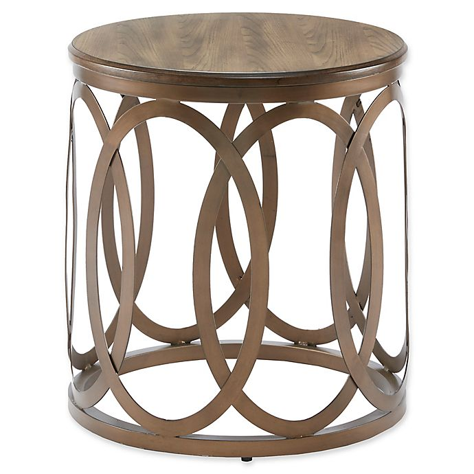 Madison Park Fraser Round End Table In Bronze Bed Bath Beyond