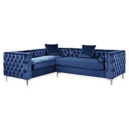 Chic Home Astrid Left Facing Sectional Velvet Sofa