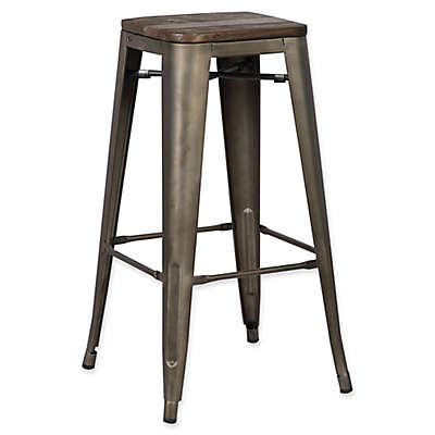 """Poly and Bark Trattoria 18"""" Stool in Elm Wood Bronze"""