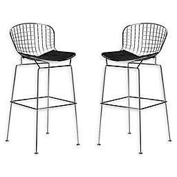 Poly And Bark Bar Stool Steel Chairs (Set of 2)
