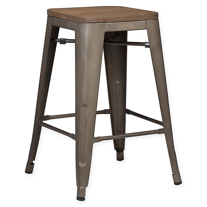 Alternate image 1 for Poly and Bark Trattoria 24-Inch Counter Height Stool with Elmwood Seat in Bronze