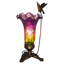River of Goods Mercury Glass Hummingbird Lily Table Lamp in Purple/Green