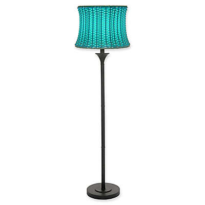 Outdoor/Indoor Floor Lamp in Brown with Basketweave Shade in Sky Blue