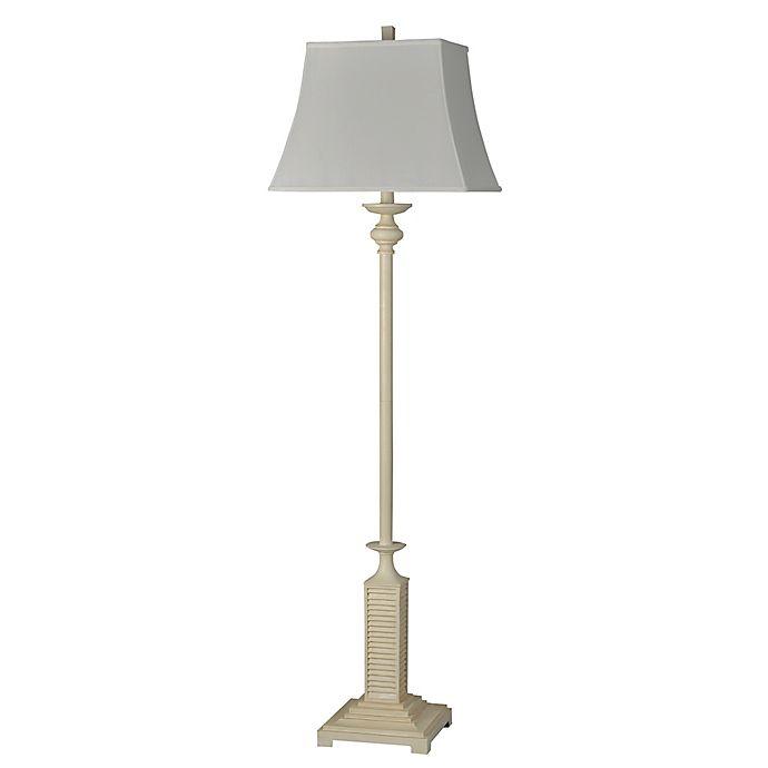 Shutter Floor Lamp In Distressed White