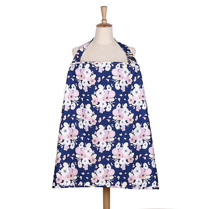 Alternate image 1 for The Peanut Shell® Floral Nursing Cover in Navy/Pink