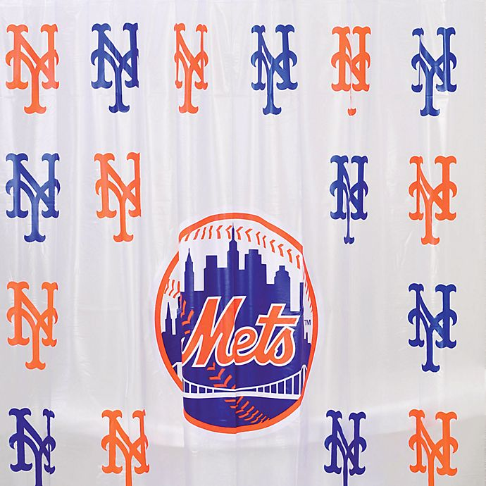 MLB New York Mets PVC Frosted Shower Curtain