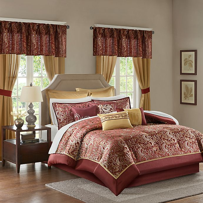 Alternate image 1 for Madison Park Brystol 24-Piece Queen Comforter Set in Red