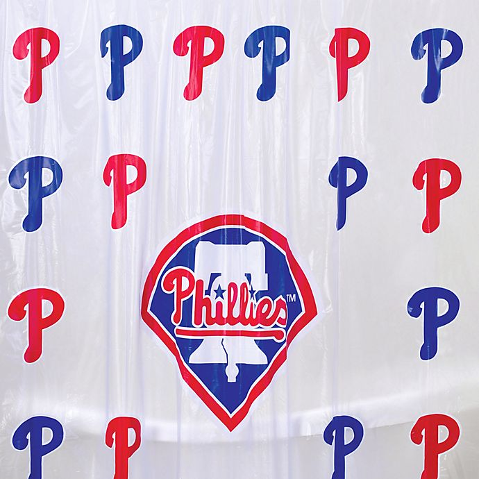 MLB Philadelphia Phillies 72 Inch X PVC Frosted Shower Curtain