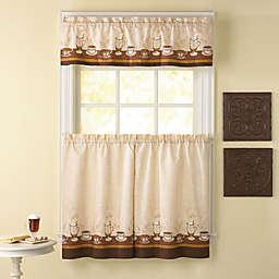 Café Au Lait Kitchen Window Curtain Tiers and Valance