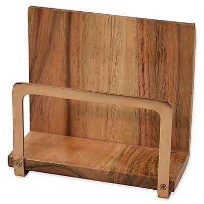 Artisanal Kitchen Supply® Acacia Wood and Metal Napkin Holder