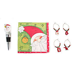 Boston International Jolly Santa Drink Set Wine Stopper and Charm Set