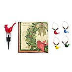 Boston International Winter Birds Drink Set Wine Stopper and Charm Set