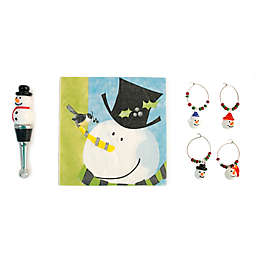 Boston International Top Hat Snowman Drink Set Wine Stopper and Charm Set