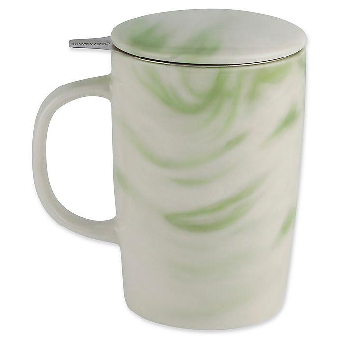 Alternate image 1 for CasaWare® Tilt & Drip 16 oz. Marble Tea Infuser Mug in Forest