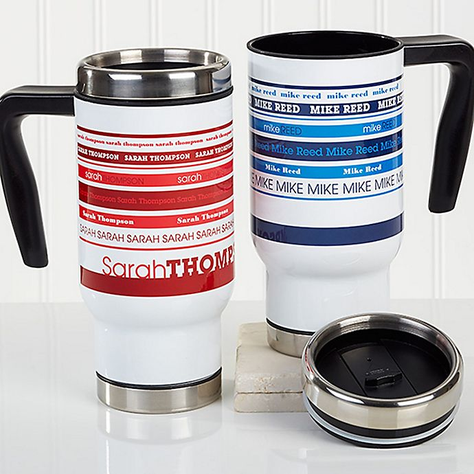 Alternate image 1 for Signature Stripe 14 oz. Commuter Travel Mug