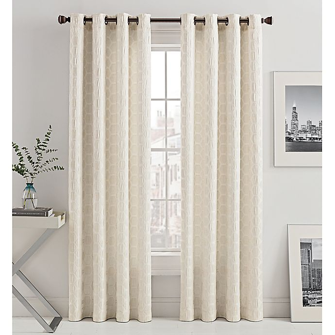 Alternate image 1 for Mosaic Hexa Lined 95-Inch Light-Filtering Grommet Top Window Curtain Panel in Ivory