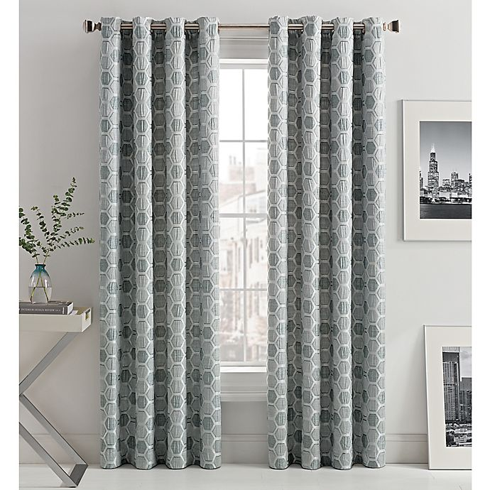 Alternate image 1 for Mosaic Hexa Lined 108-Inch Light-Filtering Grommet Top Window Curtain Panel in Grey