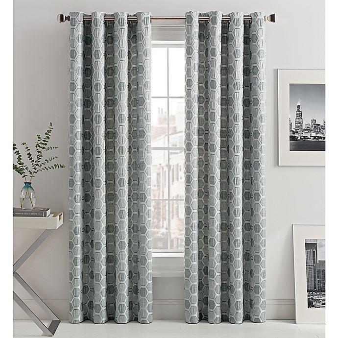 Alternate image 1 for Mosaic Hexa Lined Light-Filtering Grommet Top Window Curtain Panel