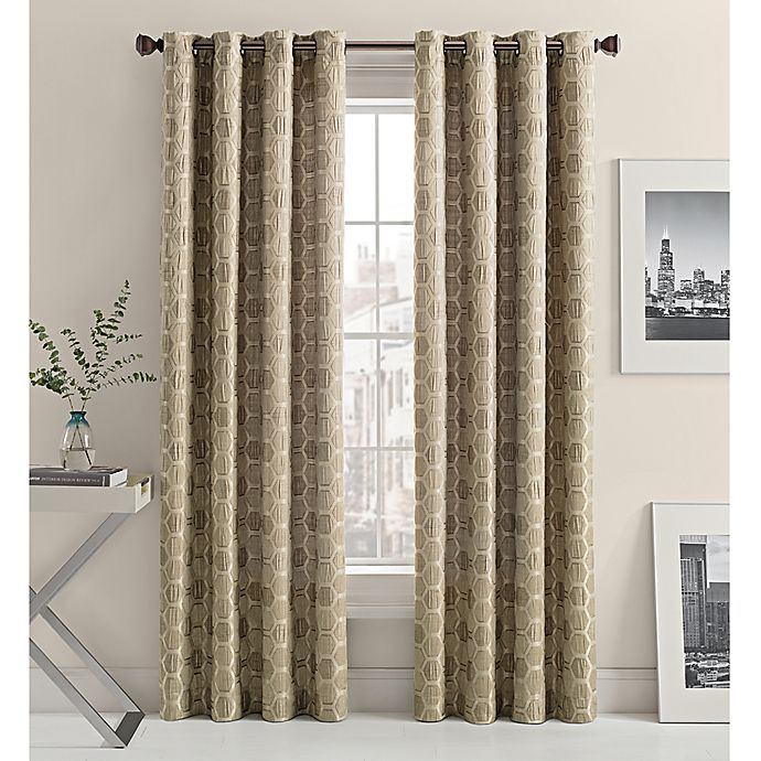 Alternate image 1 for Mosaic Hexa Lined 84-Inch Light-Filtering Grommet Top Window Curtain Panel in Oat