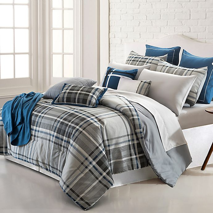 Alternate image 1 for Pacific Coast Textiles George Plaid 16-Piece Reversible King Comforter Set in Grey