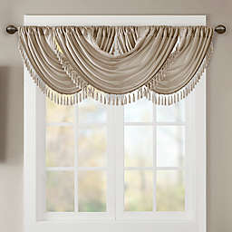 Madison Park Elena Faux Silk Waterfall Window Valance in Champagne
