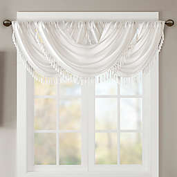 Madison Park Elena Faux Silk Waterfall Window Valance in White