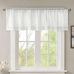 Madison Park Emily Faux Silk Solid Pleated Window Valance in White