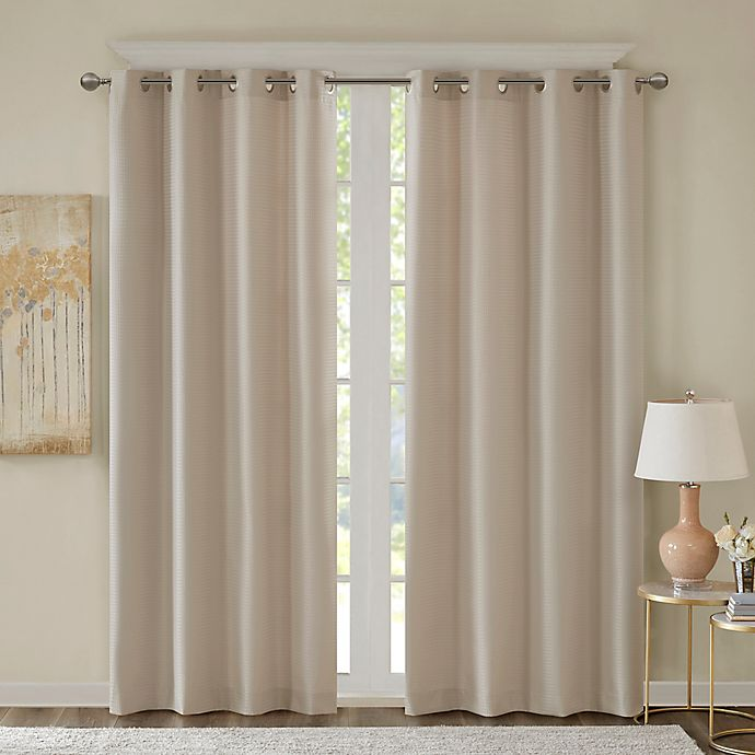 Alternate image 1 for Emmer Jacquard Solid 84-Inch Grommet Top Room Darkening Window Curtain Panel in Tan
