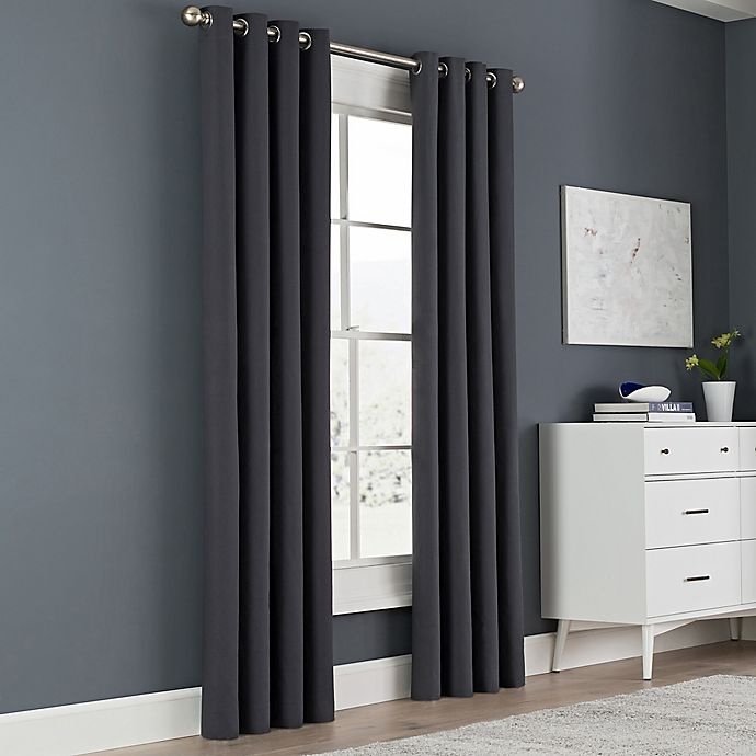 Alternate image 1 for Newport 54-Inch Grommet Top Window Curtain Panel in Charcoal