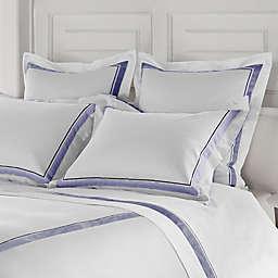 Frette at Home Arno Standard Pillow Sham in White/Sapphire