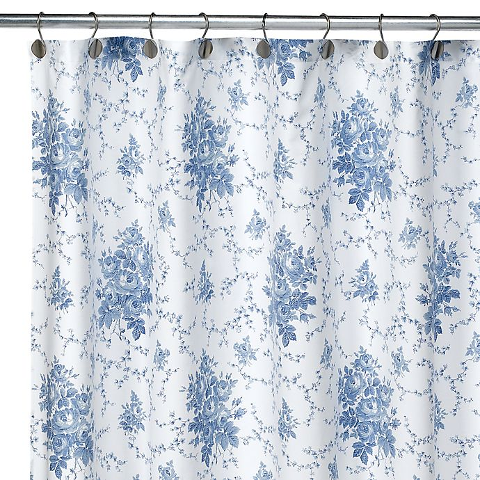 Laura Ashley Emilie Fabric Shower Curtain 100 Cotton Bed Bath