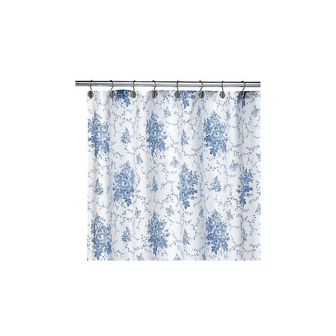 Laura Ashley Sophia Blue Fabric Shower Curtain
