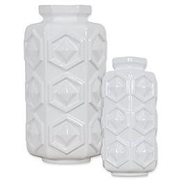 Varaluz Casa Hex Ceramic Vase in White